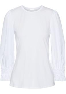 Elie Tahari Woman Macy Poplin-paneled Modal-blend Jersey Top White