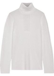 Elie Tahari Woman Maelee Ribbed Merino Wool Turtleneck Sweater Ivory
