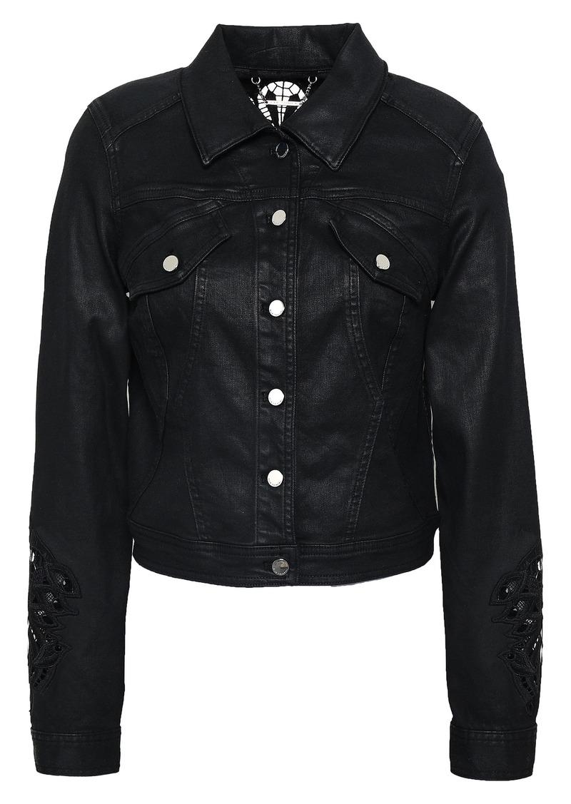 Elie Tahari Woman Meggy Guipure Lace-trimmed Coated-denim Jacket Black