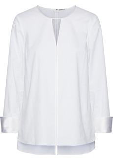 Elie Tahari Woman Mishone Embellished Satin-trimmed Cotton-blend Twill Top White