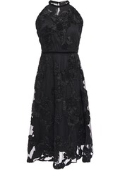 Elie Tahari Woman Myranda Velvet-trimmed Embroidered Tulle Dress Black