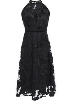 Elie Tahari Woman Myranda Velvet-trimmed Embroidered Tulle Dress Black