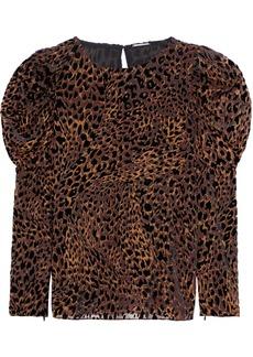 Elie Tahari Woman Noelle Gathered Leopard-print Devoré-velvet Blouse Animal Print