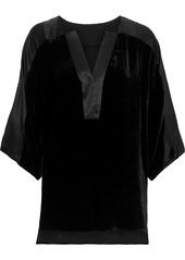 Elie Tahari Woman Nolia Satin-trimmed Velvet Blouse Black