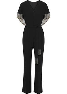 Elie Tahari Woman Nur Cape-back Fringed Crepe Jumpsuit Black