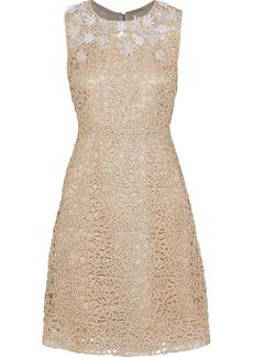 Elie Tahari Woman Ophelia Embellished Metallic Guipure Lace Dress Gold
