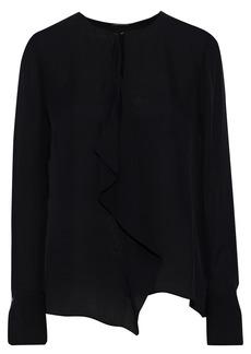 Elie Tahari Woman Pernilla Draped Silk Crepe De Chine Top Black