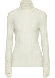 Elie Tahari Woman Pointelle-knit Merino Wool Turtleneck Sweater Ivory