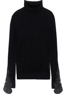 Elie Tahari Woman Pointelle-knit Merino Wool Turtleneck Sweater Black