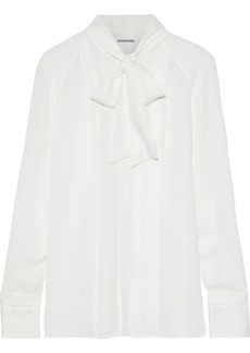 Elie Tahari Woman Pussy-bow Crochet-trimmed Silk Blouse White