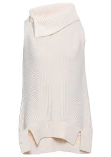 Elie Tahari Woman Susanita Zip-detailed Ribbed Wool And Cashmere-blend Top Off-white