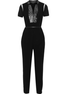 Elie Tahari Woman Roseanna Metallic Faux Fur And Tulle-paneled Crepe Jumpsuit Black