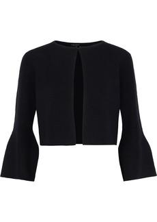 Elie Tahari Woman Rosie Cropped Merino Wool-blend Cardigan Black