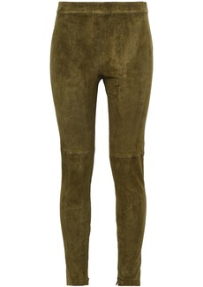Elie Tahari Woman Roxanna Stretch-suede Leggings Army Green