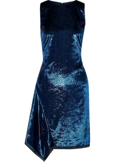 Elie Tahari Woman Serenity Draped Metallic Crushed-velvet Mini Dress Navy