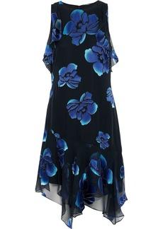 Elie Tahari Woman Serenity Ruffled Floral-print Burnout Silk-blend Chiffon Dress Midnight Blue