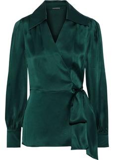 Elie Tahari Woman Shay Gathered Silk-satin Wrap Top Emerald