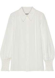 Elie Tahari Woman Shayna Smocked Silk Crepe De Chine Shirt Off-white