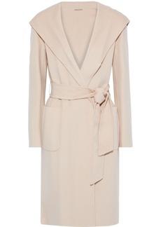 Elie Tahari Woman Shea Belted Wool-blend Felt Hooded Coat Beige