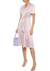 Elie Tahari Woman Shiran Draped Crinkled-satin Dress Baby Pink
