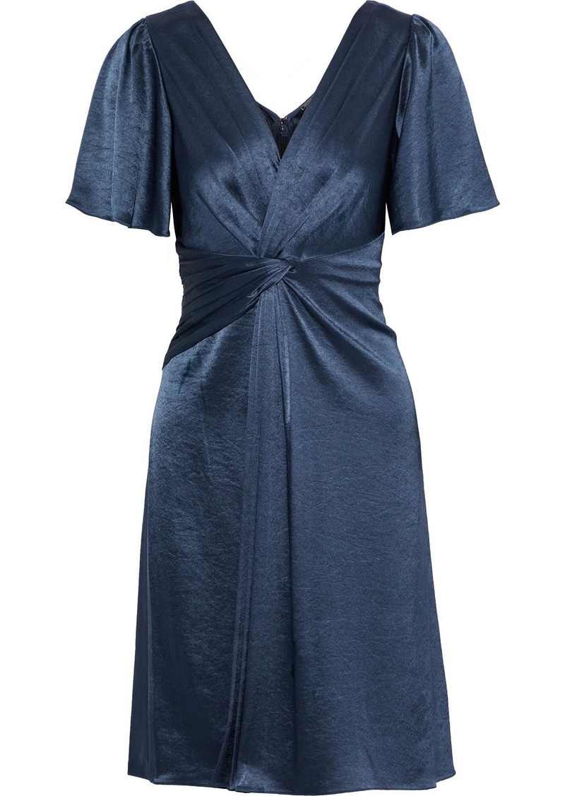 Elie Tahari Woman Silvana Twist-front Satin Dress Storm Blue