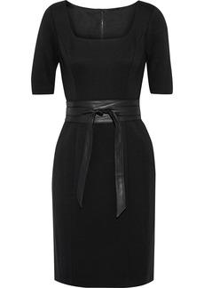 Elie Tahari Woman Siona Belted Cady Mini Dress Black