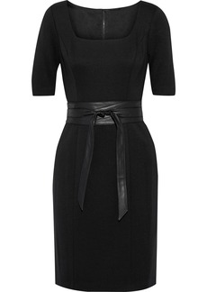 Elie Tahari Woman Siona Belted Cady Mini Dress Black