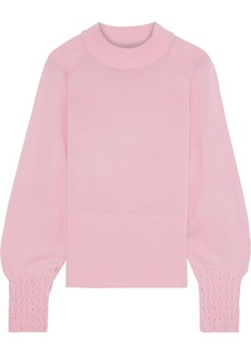 Elie Tahari Woman Skylar Smocked Merino Wool Sweater Pink