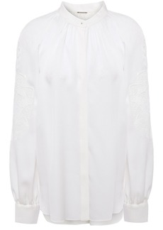 Elie Tahari Woman Slate Broderie Anglaise-paneled Silk-crepe Blouse White