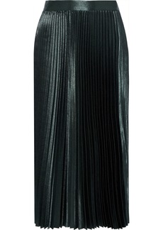 Elie Tahari Woman Sue Pleated Satin-crepe Midi Skirt Forest Green