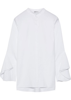 Elie Tahari Woman Sukie Fluted Stretch-cotton Twill Blouse White