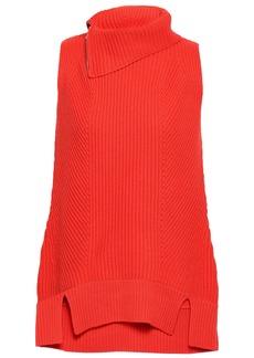 Elie Tahari Woman Susanita Zip-detailed Ribbed Wool And Cashmere-blend Top Bright Orange