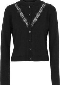 Elie Tahari Woman Sylvie Lace-trimmed Bead-embellished Merino Wool Cardigan Black