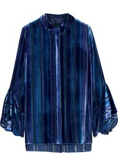Elie Tahari Woman Tesla Silk-blend Devoré-velvet Blouse Royal Blue