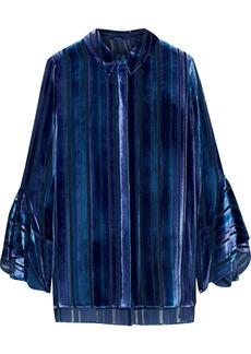 Elie Tahari Woman Tesla Silk-blend Devoré-velvet Blouse Royal Blue