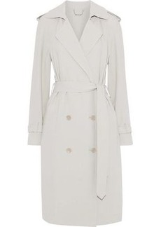 Elie Tahari Woman Tiana Crepe Trench Coat Light Gray