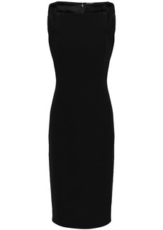 Elie Tahari Woman Velvet-trimmed Cutout Crepe Dress Black