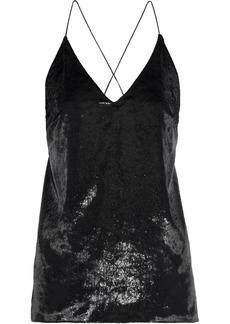 Elie Tahari Woman Wenona Metallic Velvet And Crepe De Chine Camisole Black