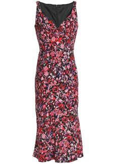 Elie Tahari Woman Yirma Floral-print Ruched Woven Midi Dress Magenta