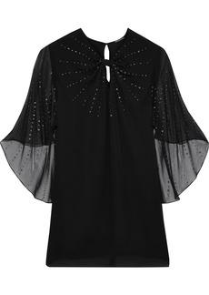 Elie Tahari Woman Yona Studded Chiffon-paneled Silk Crepe De Chine Blouse Black