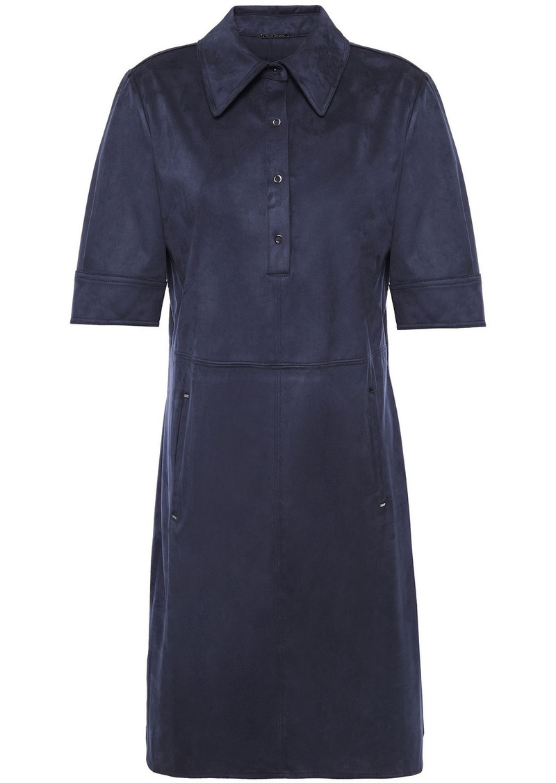Elie Tahari Woman Zahra Faux Suede Mini Shirt Dress Midnight Blue