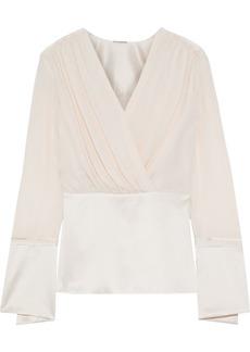 Elie Tahari Woman Zina Wrap-effect Silk Crepe De Chine And Satin Peplum Top Pastel Pink