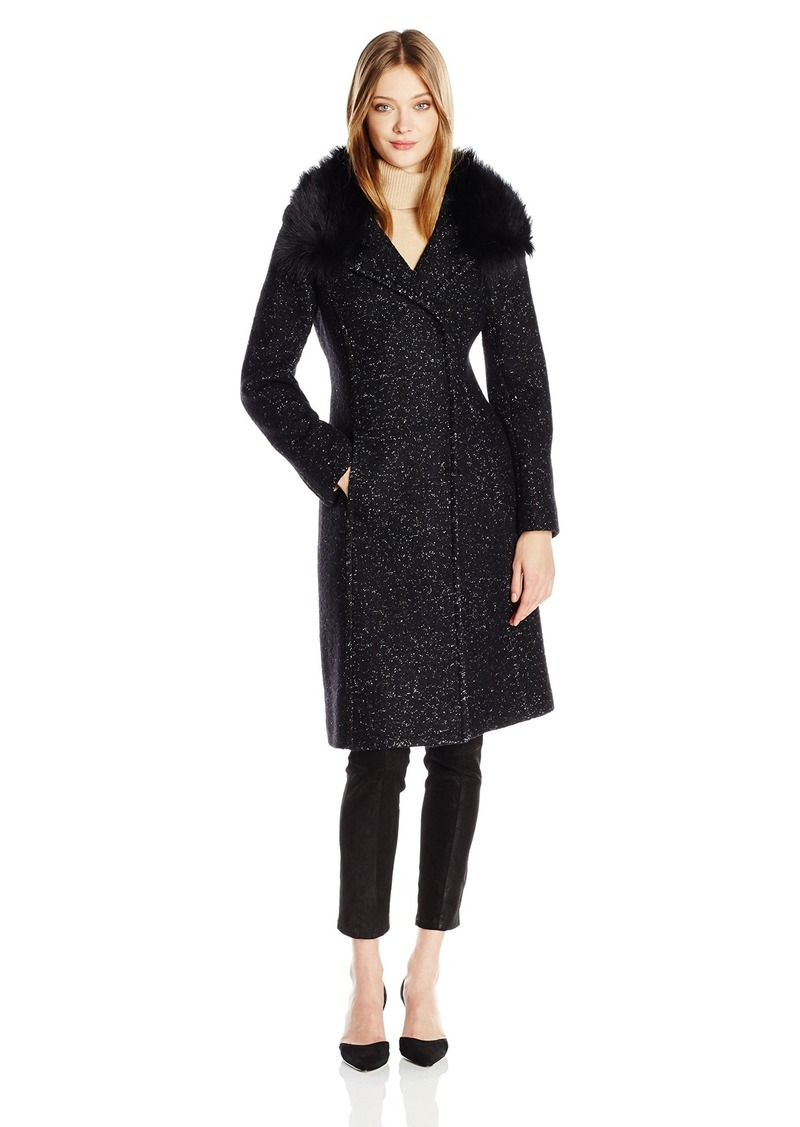 Elie Tahari Women's Anna Tailored Fitted Wool Coat with Real Fur Collar  L