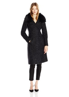 Elie Tahari Women's Anna Tailored Fitted Wool Coat with Real Fur Collar  XS