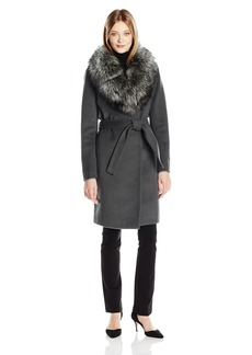 Elie Tahari Women's Sasha Wool Wrap Coat with Real Fur Collar  S