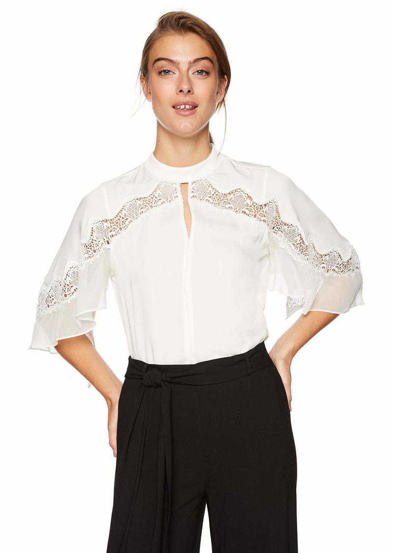 Elie Tahari Women's Double Georgette LACE Inlay Jaylah Blouse  XL