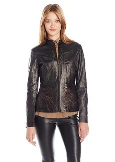 Elie Tahari Women's Grace Laser Cut Leather Jacket  XL