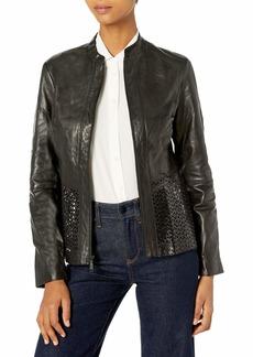 Elie Tahari Women's Grace Laser Cut Leather Jacket  S