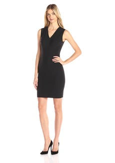 Elie Tahari Women's Gwenyth Seasonless Wool V-Neck Sheath Dress
