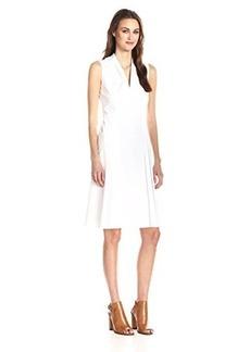 Elie Tahari Women's Jessy Cotton Poplin Pleated Fit and Flare Dress